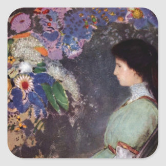 Violet in Flowers Square Sticker