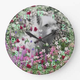 Violet in Flowers – White Terrier Puppy Dog Large Clock