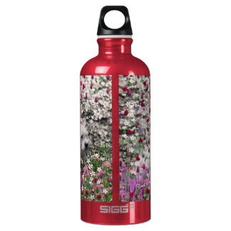 Violet in Flowers – White Westie Dog Aluminum Water Bottle