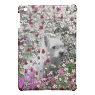 Violet in Flowers – White Westie Dog Case For The iPad Mini