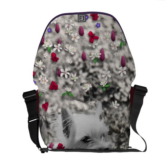 Violet in Flowers – White Westie Dog Courier Bag