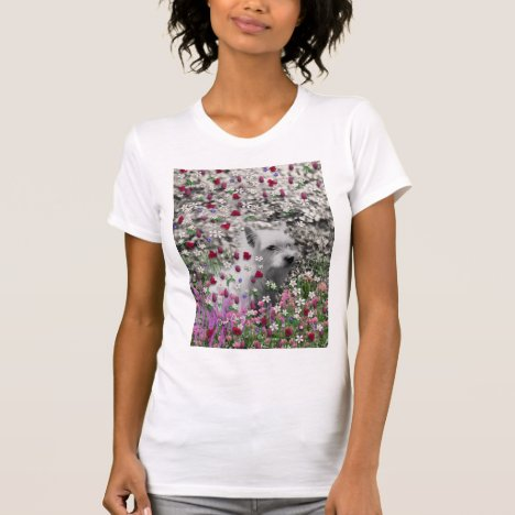 Violet in Flowers – White Westie Dog T-Shirt
