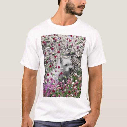 Violet in Flowers – White Westie Dog T-Shirt