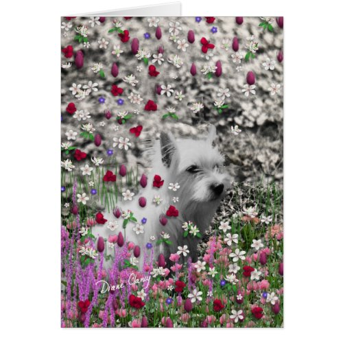 Violet in Flowers – White Westie Terrier Card