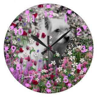 Violet in Flowers – White Westie Terrier Dog Large Clock