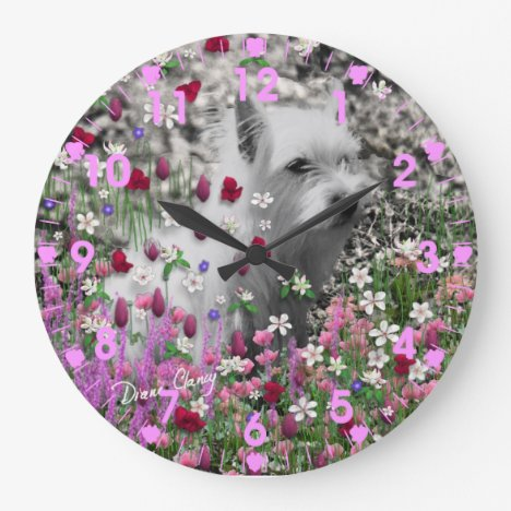 Violet in Flowers – White Westie Terrier Dog Large Clock