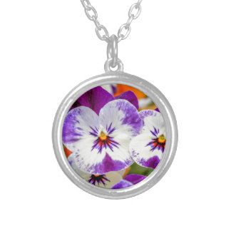 violet in the garden silver plated necklace