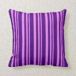[ Thumbnail: Violet & Indigo Colored Lined Pattern Throw Pillow ]