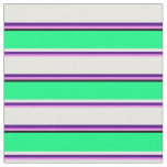 [ Thumbnail: Violet, Indigo, White, Green, and Black Stripes Fabric ]