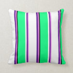 [ Thumbnail: Violet, Indigo, White, Green, and Black Stripes Throw Pillow ]
