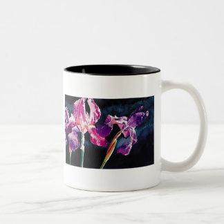 """Violet Iris"" Floral by Paul Jackson Two-Tone Coffee Mug"
