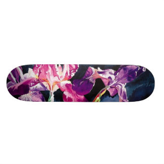 """Violet Iris"" Floral Watercolor Design Skateboard"
