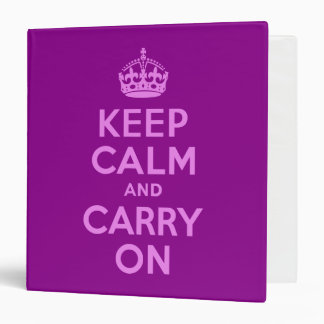 Violet Keep Calm and Carry On 3 Ring Binder