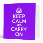 Violet Keep Calm and Carry On Binder