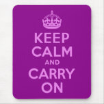 Violet Keep Calm and Carry On Mousepads