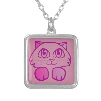 Violet kitten silver plated necklace