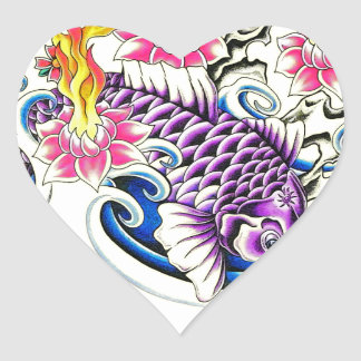 Violet koi with flaming floral heart sticker