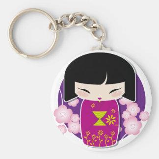 Violet kokeshi keychain