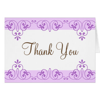 Violet lace damask borders thank you cards