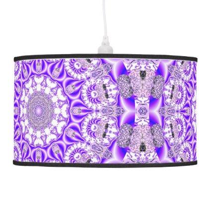 Violet Lace Mandala, Abstract Purple Mosaic Hanging Pendant Lamps