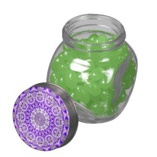 Violet Lace Mandala, Abstract Violet Purple Glass Candy Jar