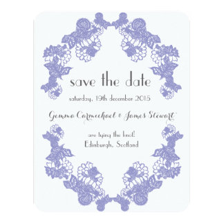 Violet Lace Trim Save The Date Card