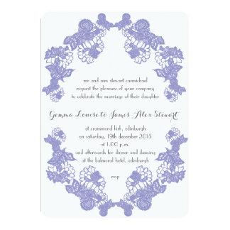Violet Lace Trim Wedding Invitation