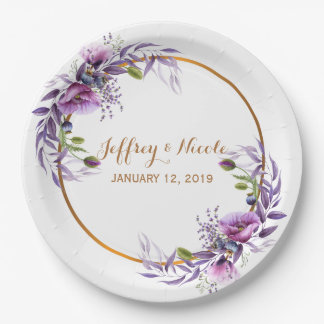 Violet Lavender Poppy Watercolor Flower Wedding Paper Plate