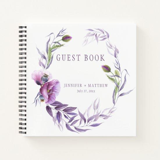 Violet Lavender Purple Floral Guest Book