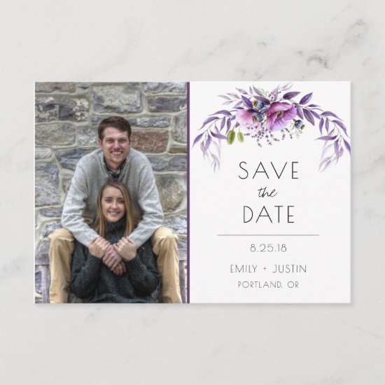 Violet Lavender Purple Floral Photo Save The Date