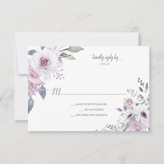 Violet Lavender Purple Roses Anemones Watercolor RSVP Card