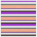 [ Thumbnail: Violet, Lavender, Slate Gray, Light Salmon & Black Fabric ]