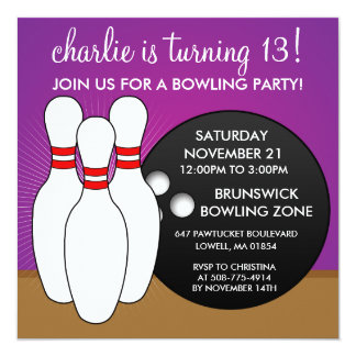 "Violet Let's Have a Ball Bowling Party 5.25"" Square Invitation Card"