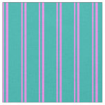 [ Thumbnail: Violet & Light Sea Green Colored Pattern Fabric ]