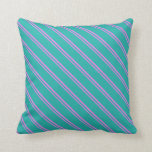 [ Thumbnail: Violet & Light Sea Green Colored Pattern Pillow ]