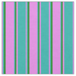 [ Thumbnail: Violet, Light Sea Green & Green Colored Pattern Fabric ]