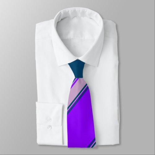 Violet Lilac and Indigo University Stripe Neck Tie