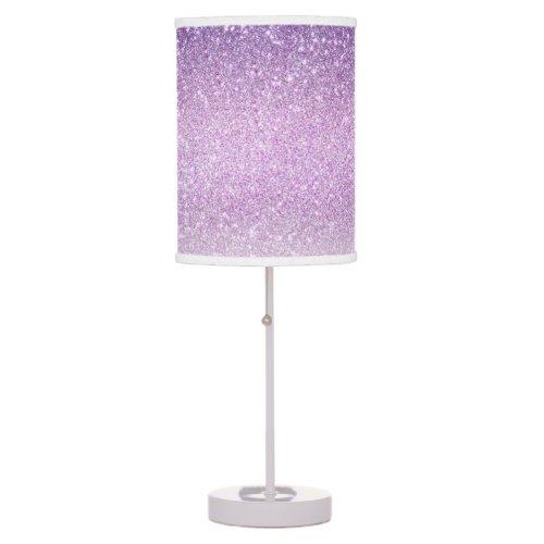 Violet Lilac Pastel Purple Triple Glitter Ombre Table Lamp
