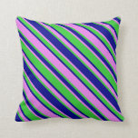 [ Thumbnail: Violet, Lime Green & Dark Blue Colored Lines Throw Pillow ]