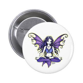 """Violet Lotus"" Yoga Chic Pinback Button"