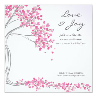 "Violet Love & Joy Baby Announcement 5.25"" Square Invitation Card"