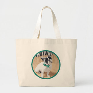 Violet Loves You! French Bulldog Art for Rescue! Large Tote Bag