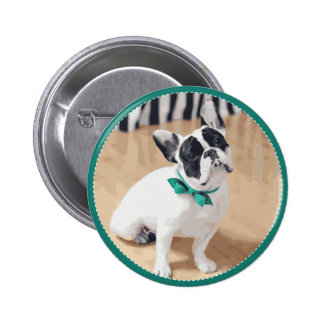 Violet Loves You! French Bulldog Art for Rescue! Pinback Button