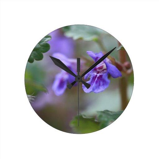 Violet Macro Round Clock