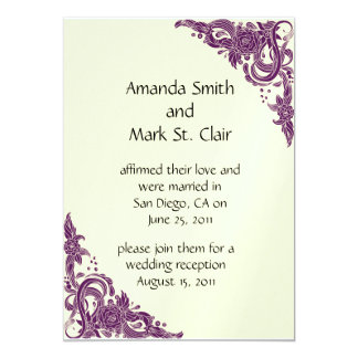Violet Magenta and Ivory Post Wedding Reception In 5x7 Paper Invitation Card