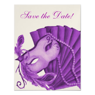 Violet Masquerade Save the Date Card