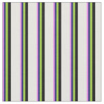 [ Thumbnail: Violet, Midnight Blue, Green, Black & White Lines Fabric ]
