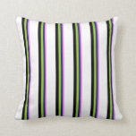 [ Thumbnail: Violet, Midnight Blue, Green, Black & White Lines Throw Pillow ]