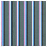 [ Thumbnail: Violet, Mint Cream, Blue, Black & Dark Slate Gray Fabric ]