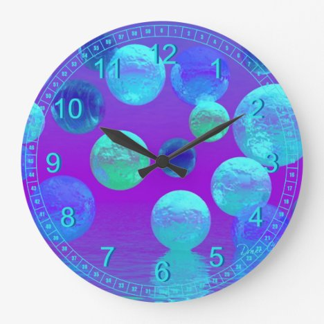 Violet Mist - Abstract Cyan and Purple Light Large Clock